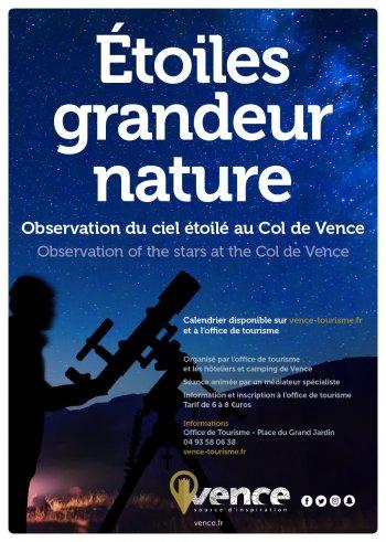 ETOILES GRANDEUR NATURE : OBSERVATION DU CIEL ÉTOILÉ AU COL DE VENCE