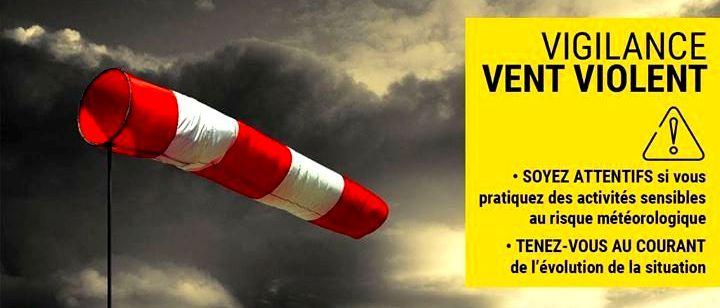 Bulletin de vigilance jaune «vents violents»